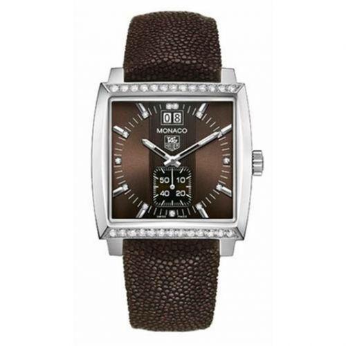 TAG Heuer WAW1316.EB0025 : Monaco Quartz Big Date Stainless Steel / Diamond / Brown / Galuchat