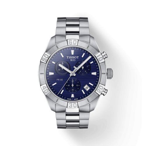 T101.617.11.041.00 : Tissot PR 100 Sport Gent Chronograph Stainless Steel / Blue / Bracelet