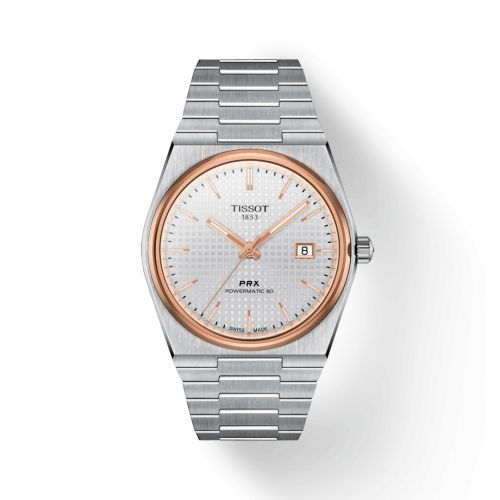 Tissot T137.407.21.031.00 : PRX Powermatic 80 Stainless Steel / Rose Gold PVD / Silver