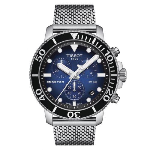 T120.417.11.041.02 : Tissot Seastar 1000 Chronograph Quartz 45.5 Stainless Steel / Gradient Blue / Mesh