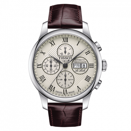 T006.414.16.263.00 : Tissot Le Locle 42.3 Valjoux Chronograph Stainless Steel / Ivory / Strap