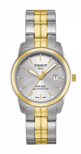 T049.307.22.031.00 : Tissot PR 100 Automatic 27 Stainless Steel / Yellow Gold PVD / Silver / Bracelet