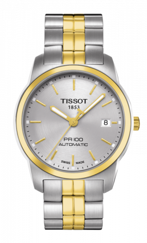 Tissot T049.407.22.031.00 : PR 100 Automatic 38 Stainless Steel / Yellow Gold PVD / Silver / Bracelet