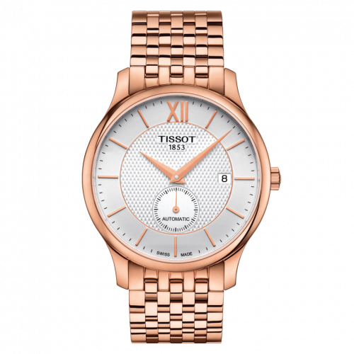 T063.428.33.038.00 : Tissot Tradition Automatic Small Second Rose Gold PVD / Silver / Bracelet