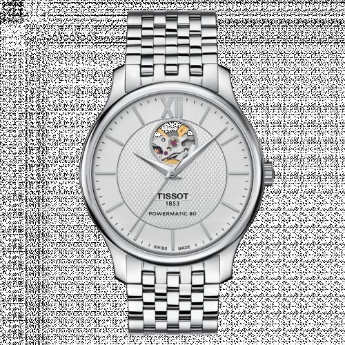 T063.907.11.038.00 : Tissot Tradition Powermatic 80 Open Heart 40 Stainless Steel / Silver / Bracelet