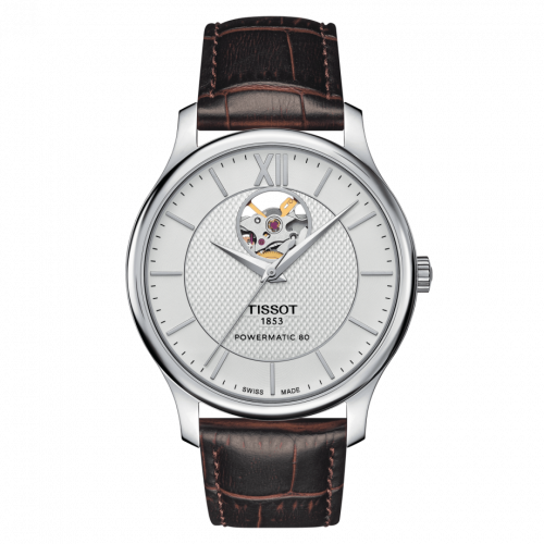T063.907.16.038.00 : Tissot Tradition Powermatic 80 Open Heart 40 Stainless Steel / Silver / Strap