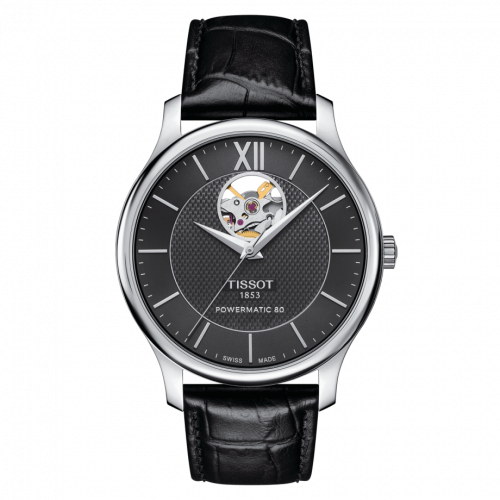 T063.907.16.058.00 : Tissot Tradition Powermatic 80 Open Heart 40 Stainless Steel / Black / Strap