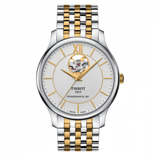 T063.907.22.038.00 : Tissot Tradition Powermatic 80 Open Heart 40 Stainless Steel / Yellow Gold PVD / Silver / Bracelet