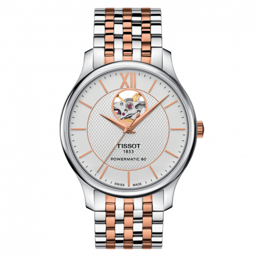 T063.907.22.038.01 : Tissot Tradition Powermatic 80 Open Heart 40 Stainless Steel / Rose Gold PVD / Silver / Bracelet