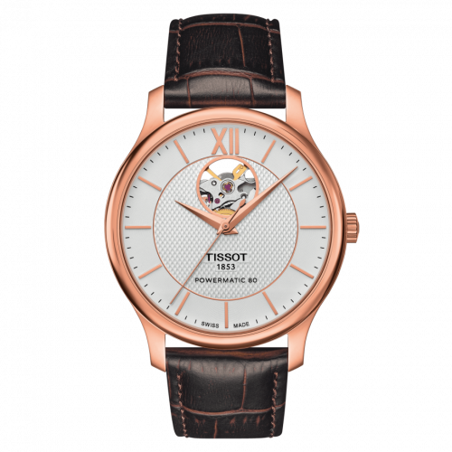 T063.907.36.038.00 : Tissot Tradition Powermatic 80 Open Heart 40 Rose Gold PVD / Silver / Strap