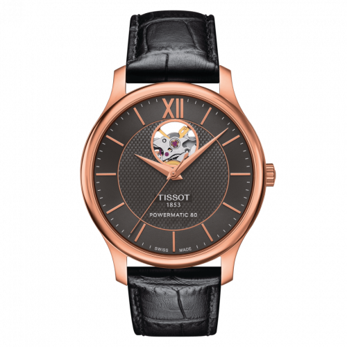 T063.907.36.068.00 : Tissot Tradition Powermatic 80 Open Heart 40 Rose Gold PVD / Grey / Strap