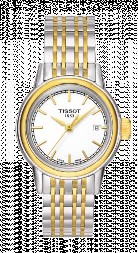 Tissot T085.210.22.011.00 : Carson Quartz 29.7 Stainless Steel / Yellow Gold PVD / White / Bracelet