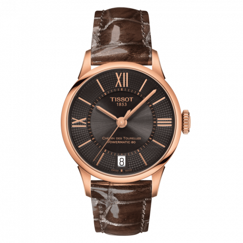 Tissot T099.207.36.448.00 : Chemin Des Tourelles Powermatic 80 32 Rose Gold PVD / Brown / Strap