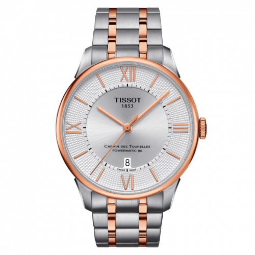 Tissot T099.407.22.038.02 : Chemin Des Tourelles Powermatic 80 42 Stainless Steel / Rose Gold PVD / Silver