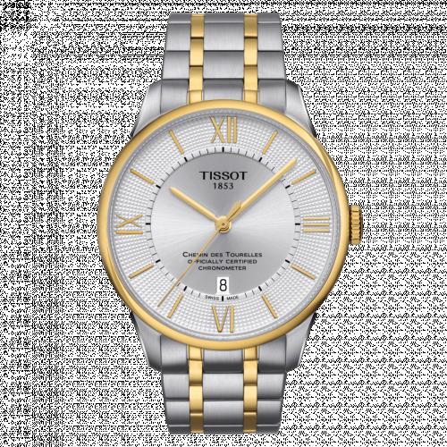 Tissot T099.408.22.038.00 : Chemin Des Tourelles Powermatic 80 COSC 42 Stainless Steel / Yellow Gold PVD / Silver / Bracelet