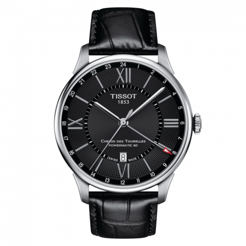 Tissot T099.429.16.058.00 : Chemin Des Tourelles Powermatic 80 GMT 42 Stainless Steel / Black / Strap