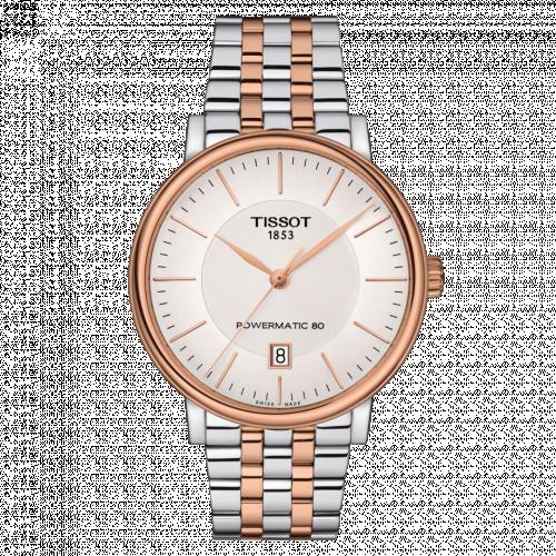 T122.407.22.031.01 : Tissot Carson Premium Powermatic 80 Stainless Steel / Rose Gold PVD / Silver / Bracelet