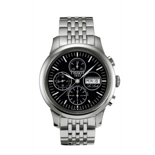 Tissot T41.1.387.51 : Le Locle Chronograph 42.3 Stainless Steel / Black / Bracelet