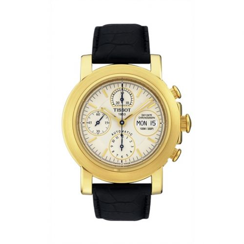 Tissot T71.3.441.31 : T-Lord Chronograph Automatic Yellow Gold / Silver / Strap