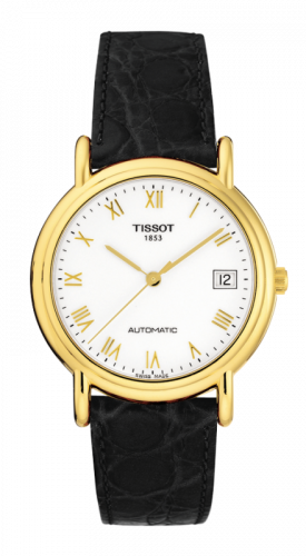 Tissot T71.3.444.13 : Carson Automatic 35.5 Yellow Gold / White / Strap