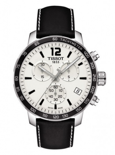 Tissot T095.417.16.037.00 : Quickster Chronograph Stainless Steel / White