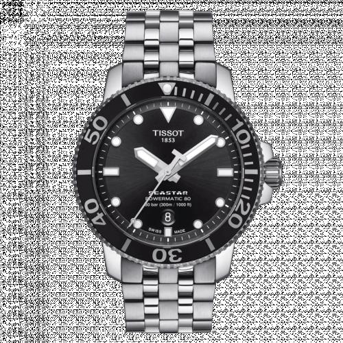 T120.407.11.051.00 : Tissot Seastar 1000 Powermatic 80 43 Stainless Steel / Black / Bracelet