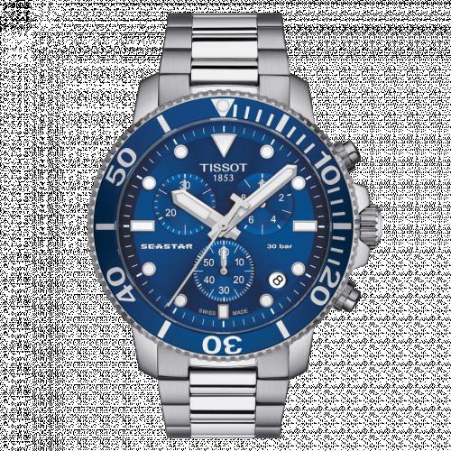 T120.417.11.041.00 : Tissot Seastar 1000 Chronograph Quartz 45.5 Stainless Steel / Blue / Bracelet