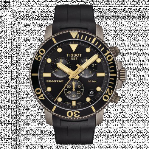 T120.417.37.051.01 : Tissot Seastar 1000 Chronograph Quartz 45.5 Bronze PVD / Black / Rubber
