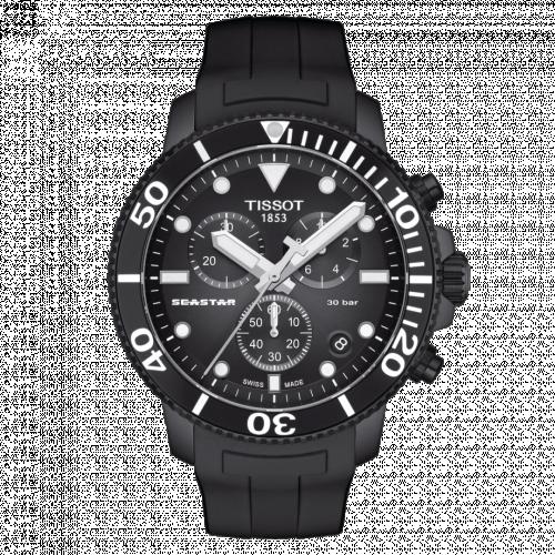 T120.417.37.051.02 : Tissot Seastar 1000 Chronograph Quartz 45.5 PVD / Black / Rubber