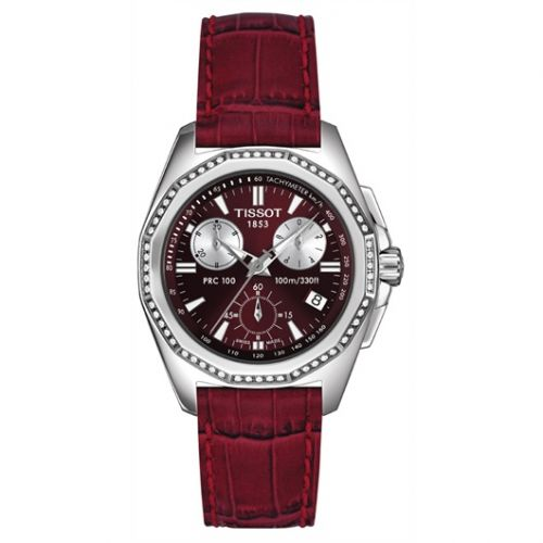 T22.1.466.81 : Tissot PRC 100 Chronograph Quartz 34.8 Stainless Steel / Red / Strap