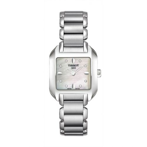 T02.1.285.74 : Tissot T-Wave Square Quartz 23.6 Stainless Steel / MOP / Bracelet