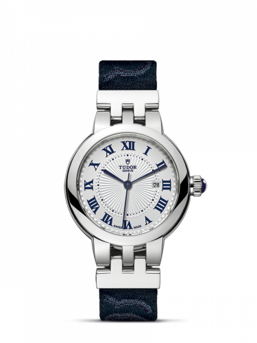 35500-0002 : Tudor Clair de Rose 30 Stainless Steel / Silver-Roman/ Fabric