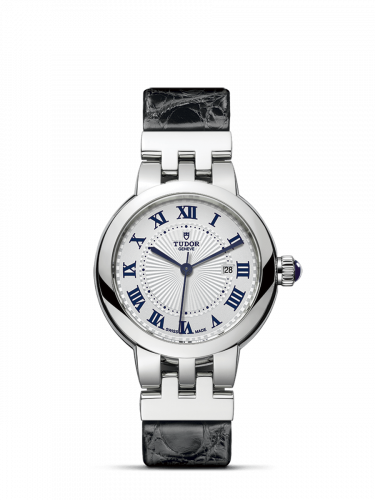 35500-0003 : Tudor Clair de Rose 30 Stainless Steel / Silver-Roman/ Alligator