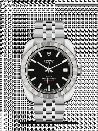 Tudor M21010-0002 : Classic 38 Stainless Steel / Fluted / Black / Bracelet