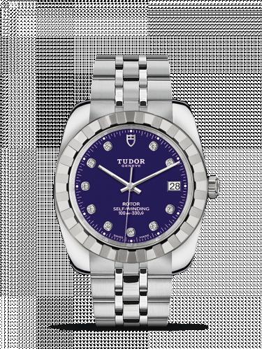 Tudor M21010-0011 : Classic 38 Stainless Steel / Fluted / Blue-Diamond / Bracelet