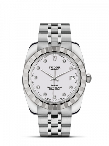 Tudor M21010-0015 : Classic 38 Stainless Steel / Fluted / White-Diamond / Bracelet