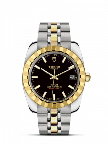 Tudor M21013-0003 : Classic 38 Stainless Steel / Yellow Gold / Fluted / Black / Bracelet
