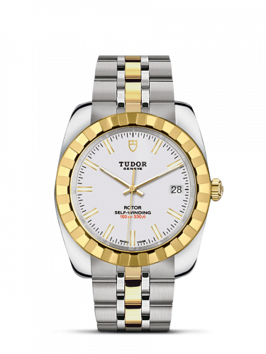Tudor M21013-0004 : Classic 38 Stainless Steel / Yellow Gold / Fluted / White / Bracelet