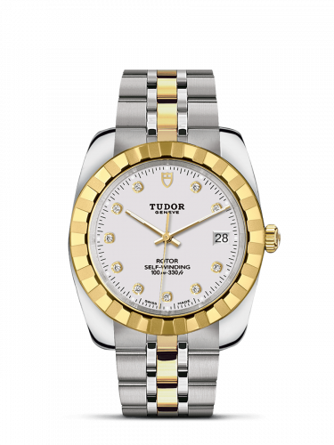 Tudor M21013-0006 : Classic 38 Stainless Steel / Yellow Gold / Fluted / White-Diamond / Bracelet