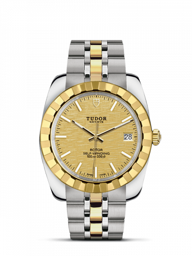 M21013-0008 : Tudor Classic 38 Stainless Steel / Yellow Gold / Fluted / Champagne / Bracelet