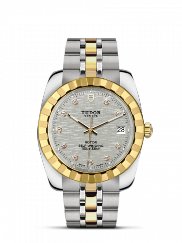 Tudor M21013-0009 : Classic 38 Stainless Steel / Yellow Gold / Fluted / Silver-Diamond / Bracelet