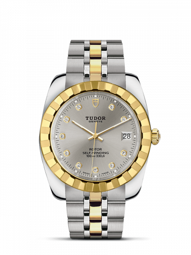 Tudor M21013-0012 : Classic 38 Stainless Steel / Yellow Gold / Fluted / Silver-Diamond / Bracelet