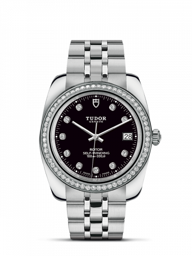 Tudor M21020-0008 : Classic 38 Stainless Steel / Diamond / Black-Diamond / Bracelet