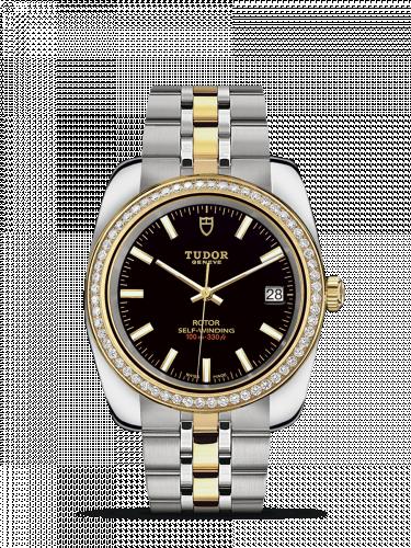 Tudor M21023-0001 : Classic 38 Stainless Steel / Yellow Gold / Diamond / Black / Bracelet