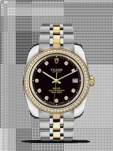 Tudor M21023-0008 : Classic 38 Stainless Steel / Yellow Gold / Diamond / Black-Diamond / Bracelet