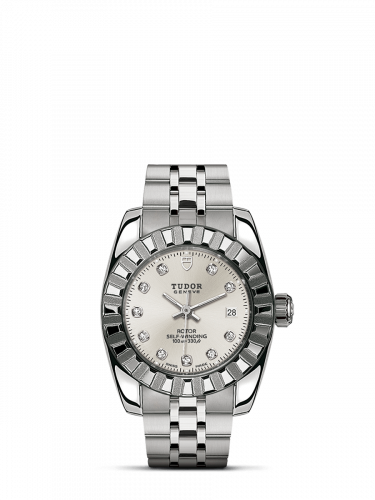 Tudor M22010-0009 : Classic 28 Stainless Steel / Fluted / Silver-Diamond / Bracelet