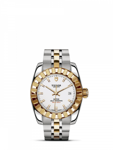 M22013-0004 : Tudor Classic 28 Stainless Steel / Yellow Gold / Fluted / White / Bracelet