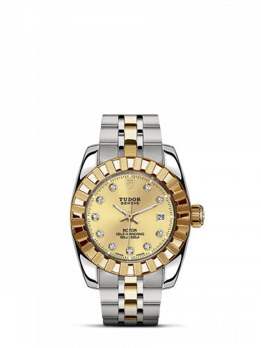 Tudor M22013-0007 : Classic 28 Stainless Steel / Yellow Gold / Fluted / Champagne-Diamond / Bracelet