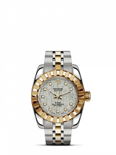 M22013-0009 : Tudor Classic 28 Stainless Steel / Yellow Gold / Fluted / Silver-Diamond / Bracelet