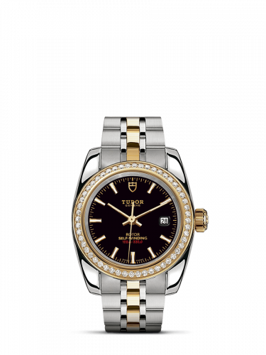 M22023-0007 : Tudor Classic 28 Stainless Steel / Yellow Gold / Diamond / Black / Bracelet